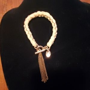 Jewelry - Unusual fabric and gold tone toggle bracelet